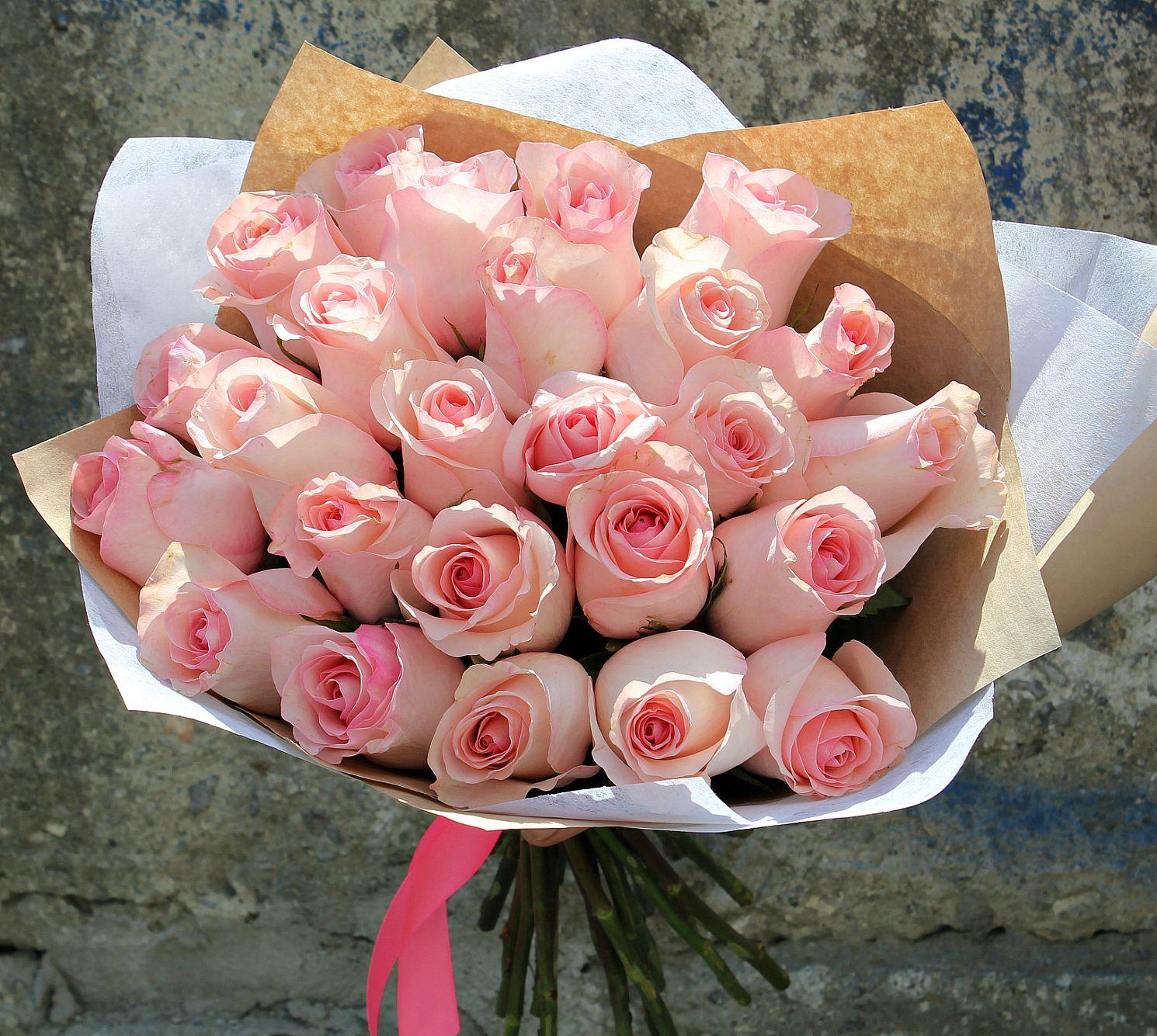 розы розовые фото букеты