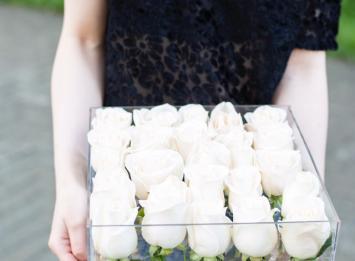 прозрачная коробочка с 25 розами цена
