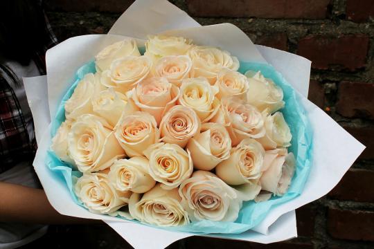25 кремовых роз цены