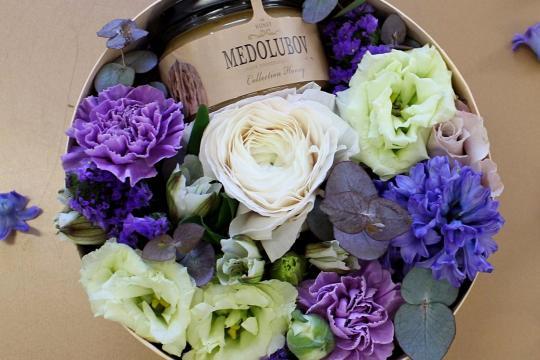 коробочка с цветами и медом недорого