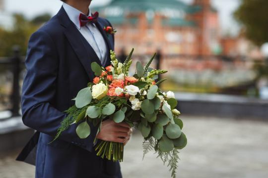 Свадебный букет с эвкалиптом