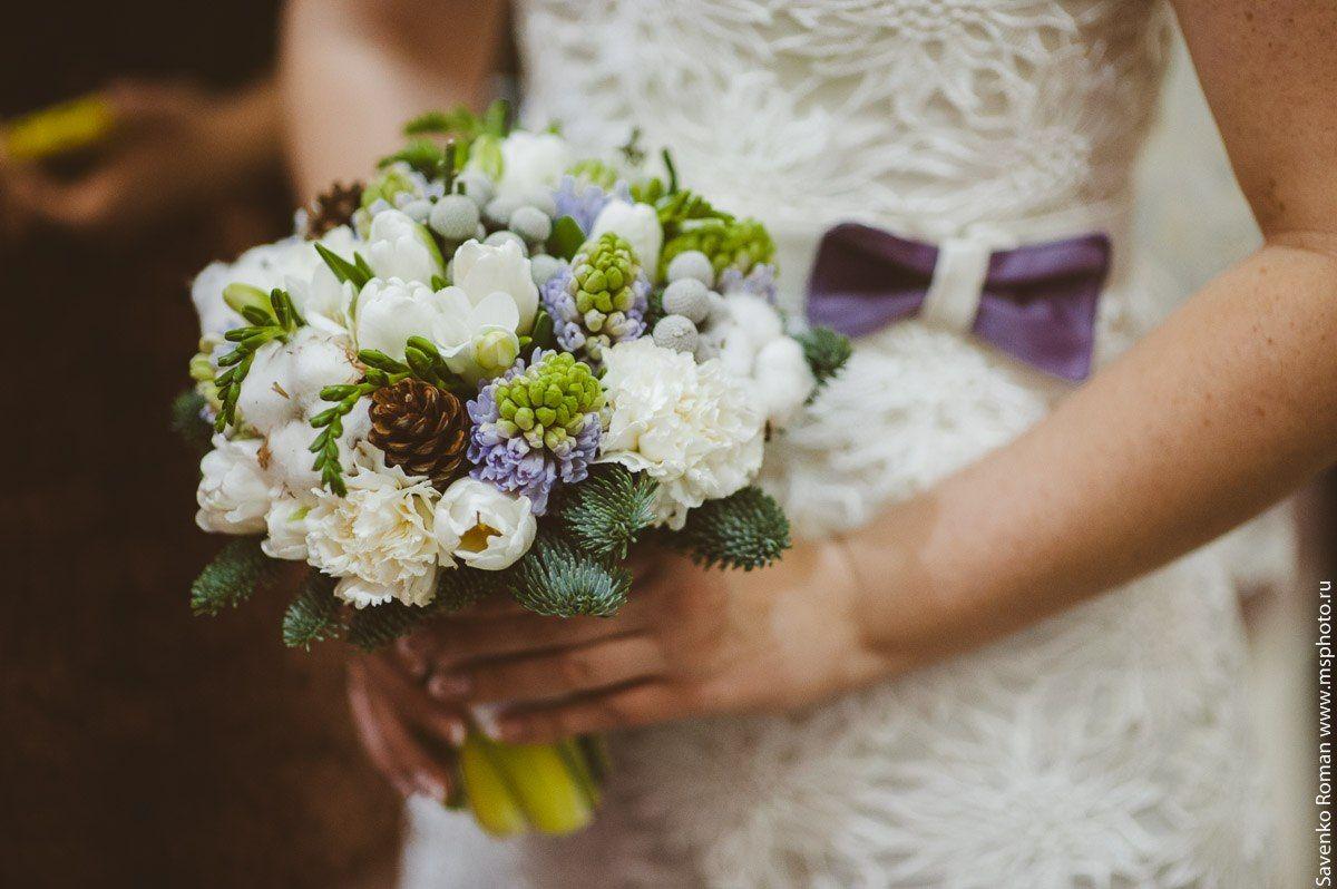 Зимний свадебный букет невесты с шишками, список
